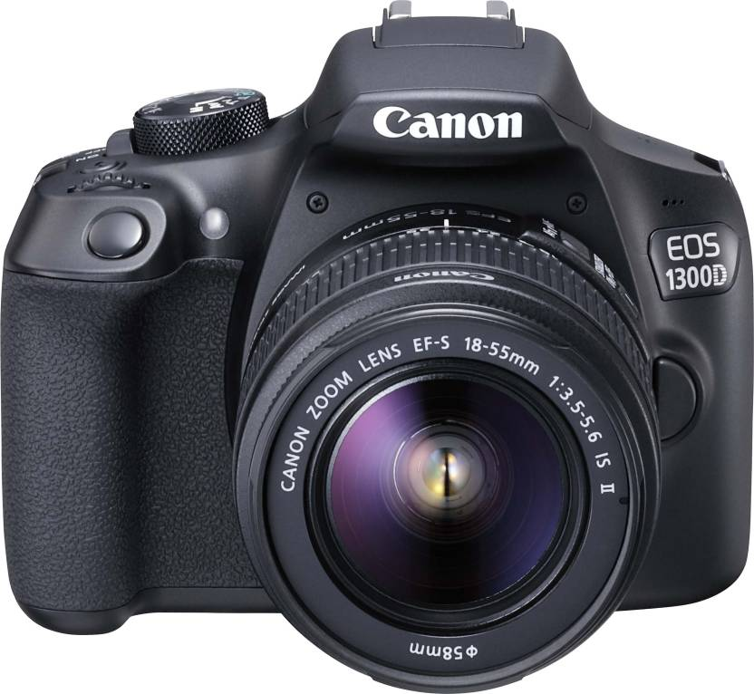 Canon EOS 1300D DSLR Camera Body with Single Lens: EF-S 18-55 IS II (16 GB SD Card + Carry Case) (Black)