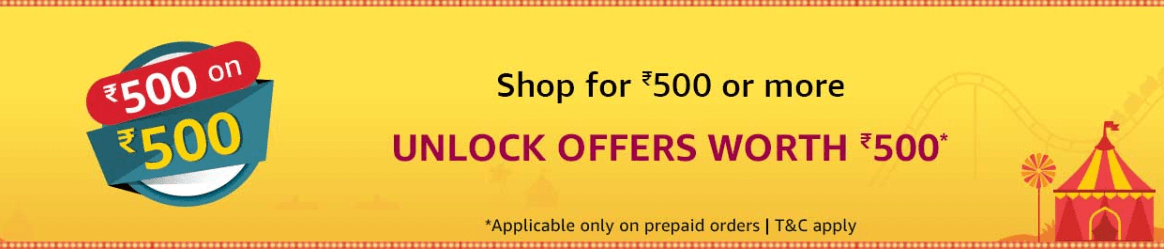 Amazon : Shop for Rs. 500 or more during Great Indian Festival and unlock offers worth Rs. 500.