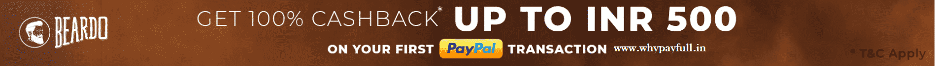 Beardo: Get 100% Cashback up to Rs.500 on your First Paypal Transaction