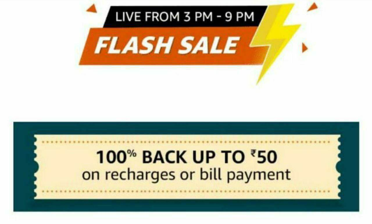 Upcoming – Amazon flash sale on recharges | Get 100% CashBack up to Rs.50