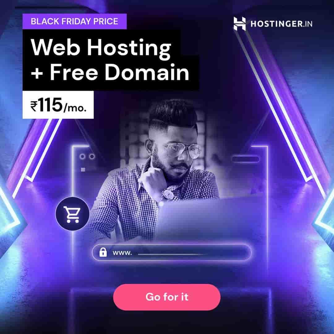 Hostinger Black Friday Sale – 10% off Coupon – Free Domain with Hosting