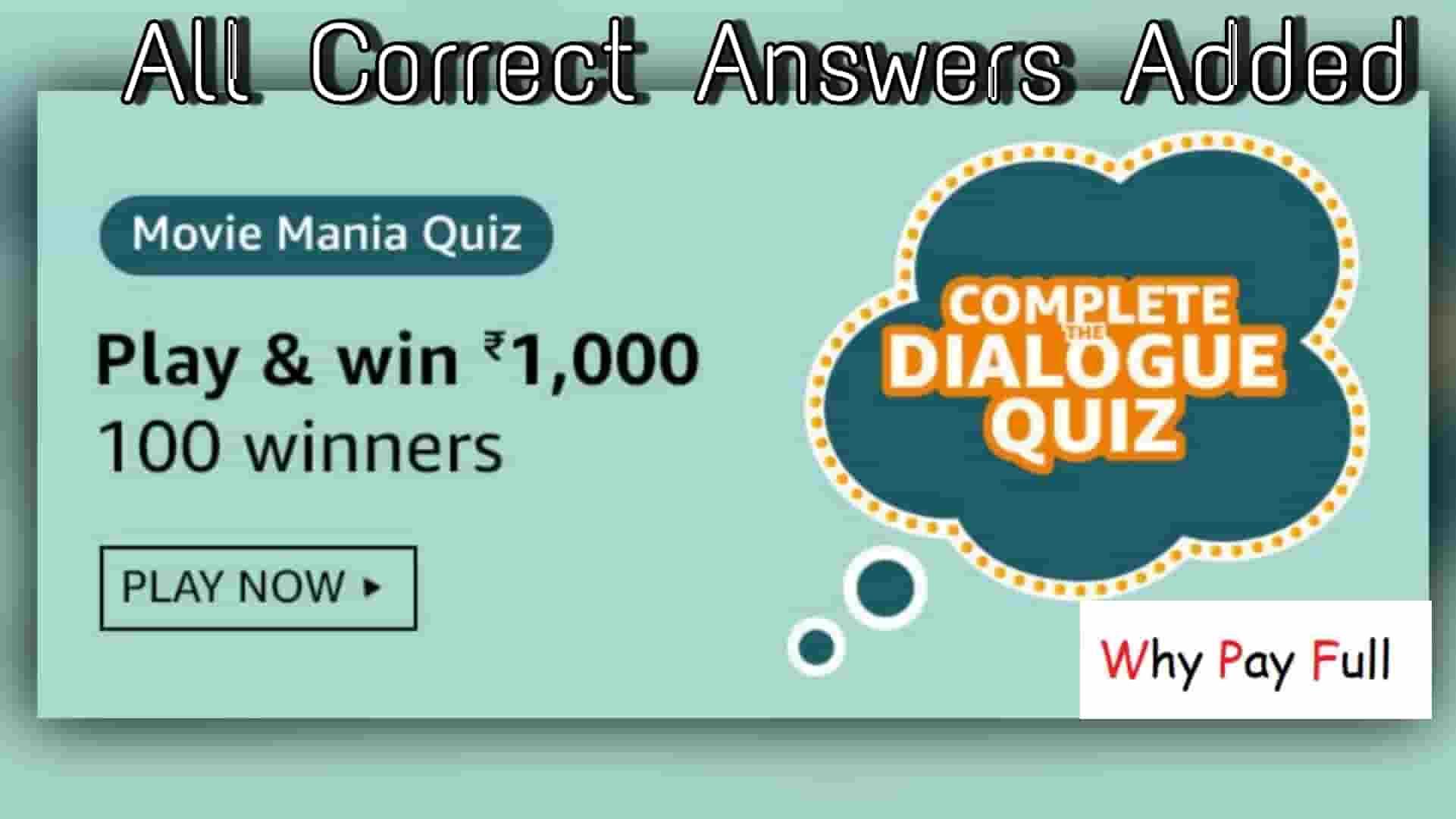Amazon Dialogue Quiz Answers | Movie Mania Quiz Answers