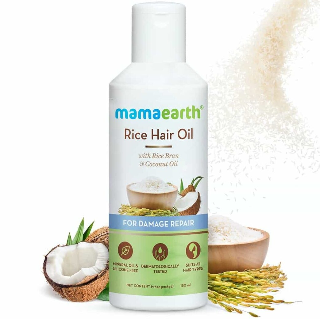 Mamaearth Rice Hair Oil with Rice Bran and Coconut Oil - MamaEarth Rice Water Products Reviews Prices on whypayfull.in