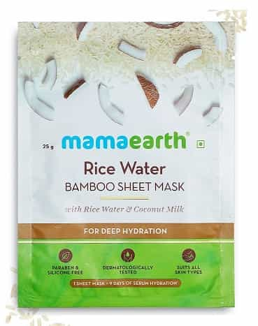 Mamaearth Rice Water Bamboo Sheet Mask with Rice Water and Coconut Milk - MamaEarth Rice Water Products Reviews Prices on whypayfull.in