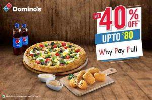 Dominos IPL OFFER – Flat 40% Off on Pizzas + 10% Cashback